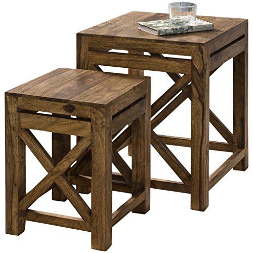 Wohnling wl1.561 Lot de 2 Tables gigognes en Bois Massif de Sheesham Table 40 x 40 x 40 cm