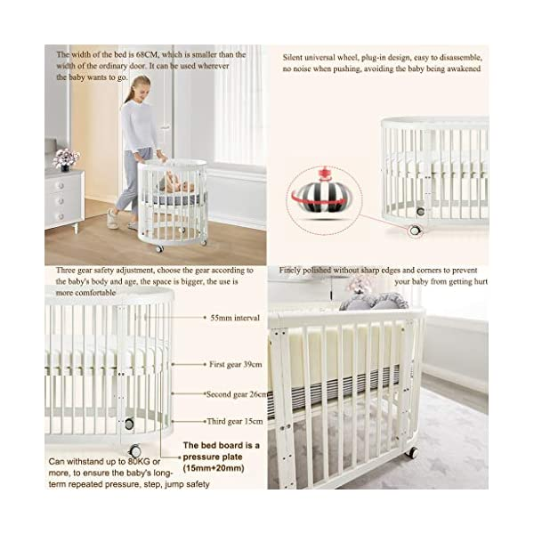 DUWEN Wooden Baby Cot Convertible To 3 Positions Toddler Bed European Multifunctional Small Round Bed Child Bed Sofa Bed Suitable For Cribs Under 6 Years (Color : White, Size : 123cm*68cm*76cm) DUWEN 【CONVERTIBLE CRIB】:Easy-to-change 3-in-1 cot can be easily converted from a crib to a nursing table and crib. The versatile crib will provide your child with a comfortable sleep. Beautifully designed cribs can grow with your child from infancy through childhood to adulthood. 【GROW UP WITH YOUR BABY】: The 3-bed mattress height adjustment function on the crib allows you to lower the mattress when your baby starts sitting or standing. It can keep your baby safe and comfortable in the bed that grows up with your baby. This convertible adjustable multifunctional bed will make your child's life unforgettable. 【STURDY PINE WOOD】: A crib is the perfect solution for a peaceful and worry-free sleep for parents and children. The crib is made of high-quality beech wood, which is durable and easy to deform without harming the baby. With a carrying capacity of more than 80KG, it is easy to assemble and is designed for the healthy sleep of babies aged 0-6. 3