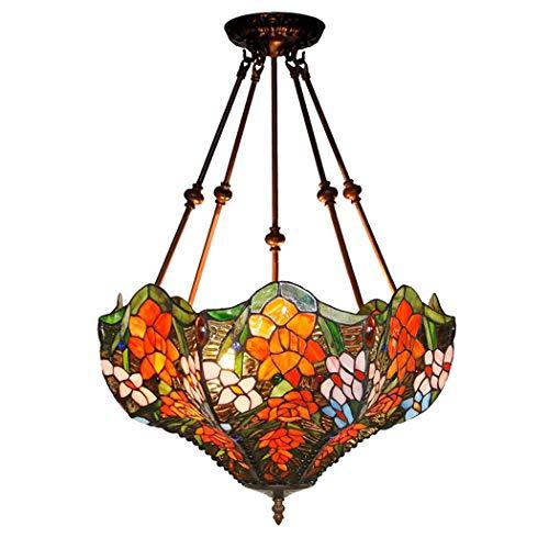 Tiffany-Art-Deckenleuchte, 18 Zoll-Buntglas-Farbton-Leuchter, 4 Arme, 3 Lichter Luxusumgekehrte Decken-hängende Hängende Lampen-Befestigung Für Esszimmer-Wohnzimmer-Schlafzimmer (Design : A-110V) -