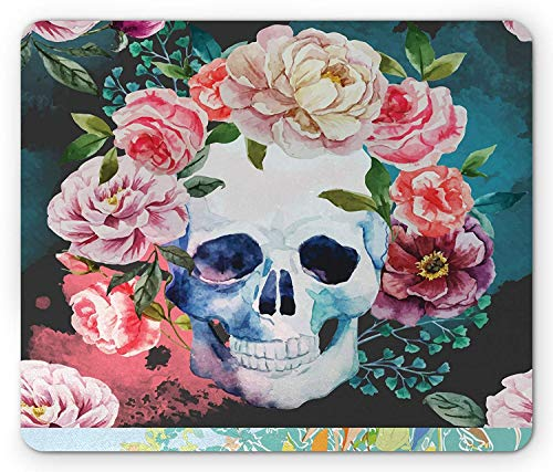 ASKSSD Skull Mouse Pad, Big Flowers and Skull Floral Design Skeletons All Saints Day Halloween Themed Print, Standard Size Rectangle Non-Slip Rubber Mousepad, Multicolor