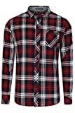 Herren gedrucktes Flannelmuster Hemd von Tokyo Laundry 'Carlsson' (Tiefrot) XXL