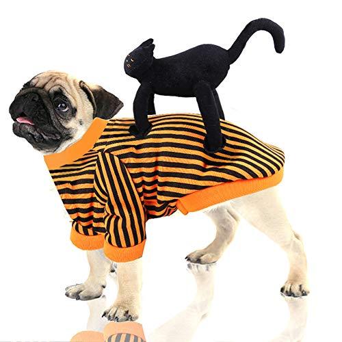 Katze Schwarz Kostüm Hunde - CDSFC-Haustier Kostüme, Halloween Lustige Schwarze Katze Fahrt EIN Hund Kleidung Hund Geburtstag Festival Party Dress Up Bekleidung Für Kleine Mittlere Hunde Katzen,XL