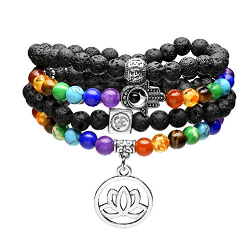JOVIVI 108 Buddha Chakra Armband aus Edelstein 6mm Perlenarmband mit OM Hamsa Hand Lotus Anhänger Wickelarmband Mala Kette (Lavastein)