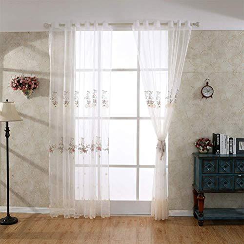Blanc Rideau À Oeillets Transparent Tulle Motif Flora Broderie À La Main Lavable Couche Unique 150 * 280Cm,300 * 280