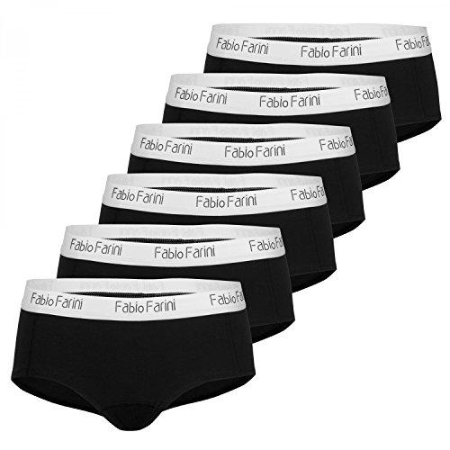 Fabio Farini 6er-Pack Damen Pantys Hipster aus Baumwolle, mit weiß abgesetztem Bund, Schwarz, Größe: M (Set Panty)
