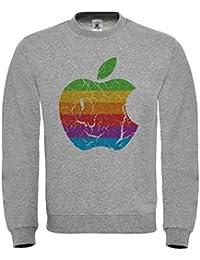 dbd2f93a0c762b Doctor Music Shirt Felpa Mela Vintage Apple, Logo Retro Stile Anni 70