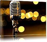 Altes Retro Mikrofon Format: 100x70 auf Leinwand, XXL riesige Bilder fertig gerahmt mit Keilrahmen, Kunstdruck auf Wandbild mit Rahmen, günstiger als Gemälde oder Ölbild, kein Poster oder Plakat