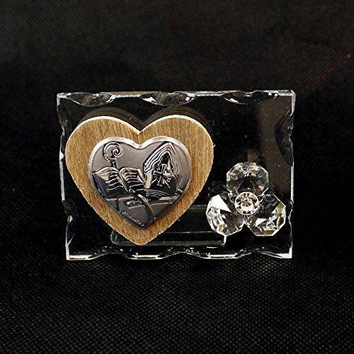 dlm26164Ikone aus Glas mit Herz aus Holz und Blume aus Kristall für Konfirmation Gastgeschenke