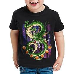 style3 Shenlong Dragón Camiseta para Niños T-Shirt shenron Z goku vegeta roshi ball, Talla:128
