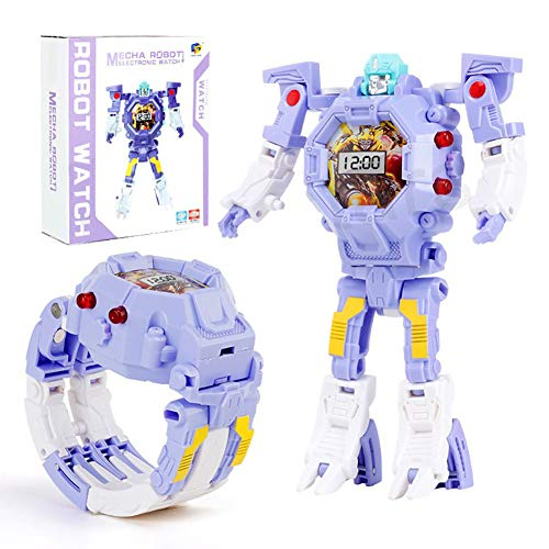 Toy Watch Transformers Toys Kids 2 in 1 Electronic Transformers Toys Watch, trasformazione manuale Robot Toys Regalo per bambini (viola)