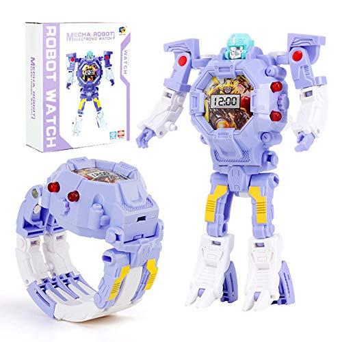 sformers Spielzeug Kinder 2 in 1 Elektronische Transformatoren Spielzeug Uhr Deformierte Roboter Manuelle Transformation Roboter Spielzeug Kinder Geschenk (Lila) ()