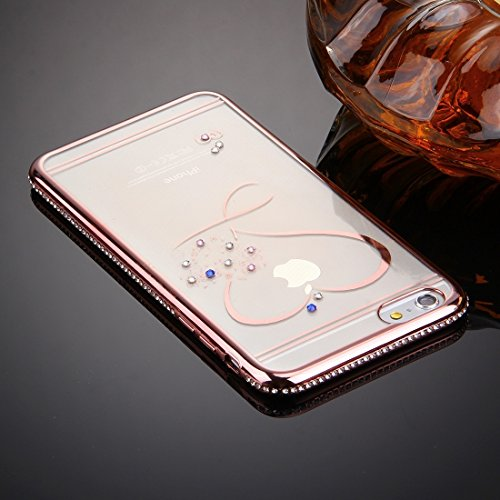 Wkae Case & Cover Pour iPhone 6 & 6s diamant Encrusted Amour Motif Electroplating Cadre étui de protection TPU ( Color : Rose Gold ) Rose Gold