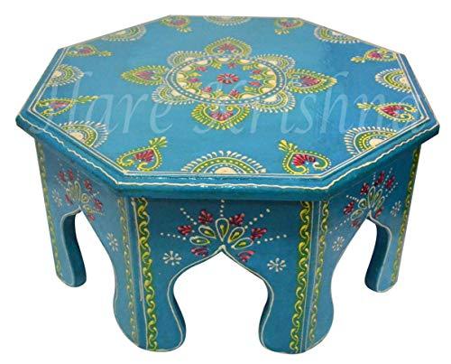 Hare Krishna Table d'appoint en Bois Faite à la Main, Repose-Pieds Rond et Peint à la Main (Turquoise) 31 x 31 x 15 Cm