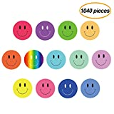 FEPITO 10 hojas 1040 PCS Smiley Face Stickers Mini pegatinas de cara feliz para maestros, padres Kids Craft Scrap Books Decoration, multicolor