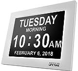 Horloge Calendrier- Large Ecran Numérique Pour Les Enfants Les Personnes Agées Avec Démence 5 Option d'Alarmes et Rappels (Blanc)