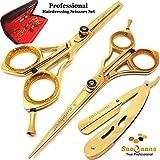 Saaqaans SSS-02 Set de Ciseaux Coiffure Professionnel - Haute Qualité Ciseaux de Coiffeur - Perfectionnez pour la Coupe de Cheveux élégante, Garniture votre Barbe et Moustache