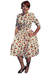 1950s Style Foxy Foxes Print Ladies Dress - Silly Old Sea Dog