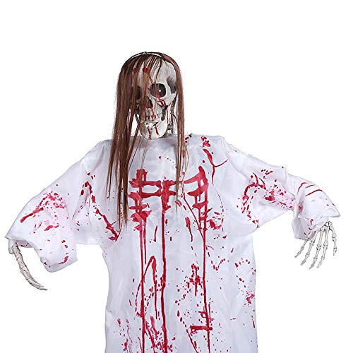 Electz Halloween Dekoration Hängender Geisterton Aktiviert Augen leuchten Party Hängende Skeleton Props Zum Spukhaus Party - Weibliche Gefängnis Kostüm