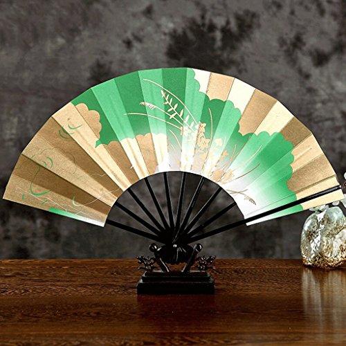 WTL Art Deco Ms Druckpapier Holz Faltventilator Japanisch-Stil Sided Folding Fan ( Farbe : Grün )