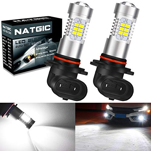 NATGIC 9006 HB4 Ampoules antibrouillard à LED blanc xénon 21 - Jeu de puces EX 2835 SMD avec lentille de projecteur pour feux de brouillard, feux diurnes, 10-16V 10,5W (lot de 2)