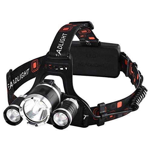 Lampe Frontale Rechargeable, Orientable, 4 Modes, 5000LM, 2X 18650 Batterie, Câble USB Inclus pour Une Variété d'Activités de Plein Air comme le Camping, Pêche et Chasse