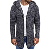 Dragon868 Herren Lang Cardigan Lässige Strick Trench Mantel Jacke Wintermantel Outwear