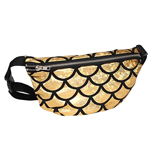 TININNA Frauen Schulter tasche Fisch Skala Muster Taille Tasche Multifunktionale Sequins Kosmetik Gürteltasche Cross-Body Schultertasche Sport Taille Tasche Gold
