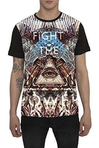 Maglietta da Uomo, T Shirt Designer Fashion Rock, Maglia Nera con Stampa Grafica, 3D Design - FIGHT THE POWER - 100% Cotone, Girocollo, Maniche Corte, Magliette Moda Urban Cool per Uomo S M L XL XXL - Dolce Grafico