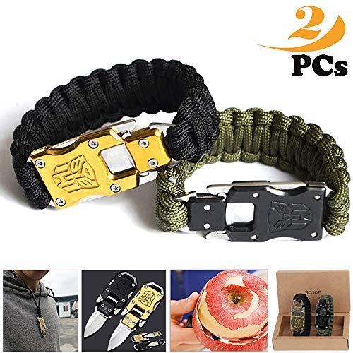 BASON Survival Armband,Paracord Armband, Selbstverteidigungsmesser des rostfreien Stahls, Fallschirmseil kann entsprechend der Größe Ihres Handgelenks gestrickt Werden. 2Pack