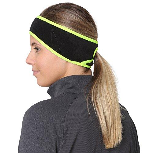 TrailHeads Pferdeschwanz-Stirnband für Damen | Ohrenwärmer aus Vlies | Stirnband für Winterläufe - schwarz/reflektierend