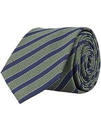 OTTO KERN Schmale Krawatte Seide Seidenkrawatte Clubkrawatte Grün Blau Gestreift 6,5 cm