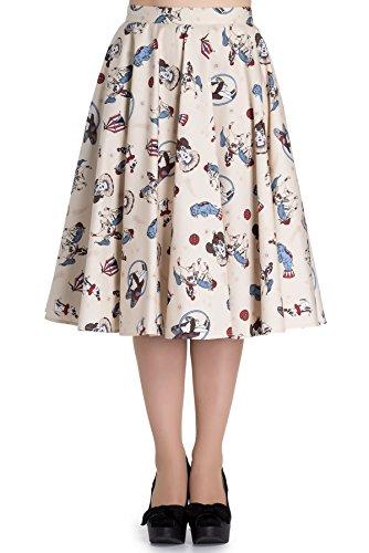 Hell Bunny CIRCUS 50s Vintage Swing Skirt / TELLERROCK Rockabilly Eierschalenfarben