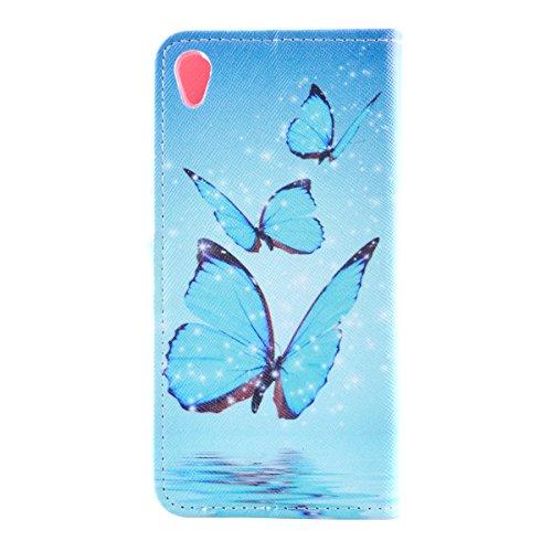 iPhone 5 Cover, iPhone 5S Custodia in pelle, Felfy Lusso Elegante Belle Torre Eiffel Fiori Bici Diamanti Porpora Stile Flip PU Pelle della Protezione Portafoglio Cuoio borsa Libro Wallet Supporto Stan Blu Farfalla