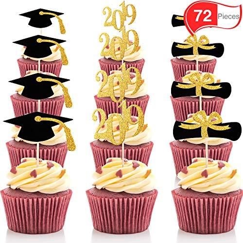 (Chengu 72 Stücke Graduierung Cupcake Toppers, 2019 Deckel Graduierung Picks für Mini Kuchen, Absolvent Essen und Vorspeise Dekoration, Schwarz und Gold)