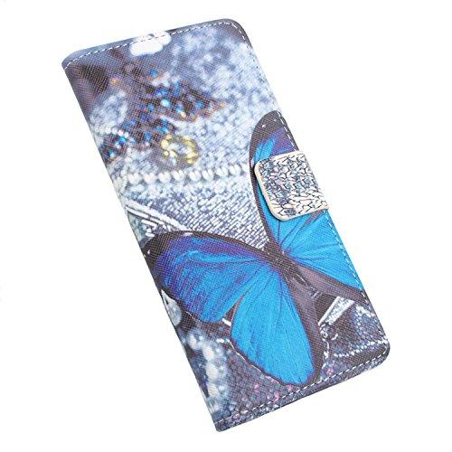 Easbuy Bunt Pu Leder Kunstleder Flip Cover Tasche Handyhülle Hülle Case Handytasche Schutzhülle Etui für Oukitel U7 Plus Smartphone Side Open mit Halter und Karte Slot Design Handytasche
