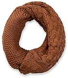 styleBREAKER Strick Loop Schal mit Mustermix, Uni Feinstrick Schlauchschal, Winter Strickschal, Unisex 01018153, Farbe:Cognac