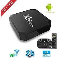 [2018 Última Edición] Smart TV Box 【RAM 2G+16G ROM】- Aoxun X96MINI Android 7.1 TV Box con mini teclado, CPU S905W de cuatro núcleos, 4k2k H.265, 100M LAN, unterstützt 4K