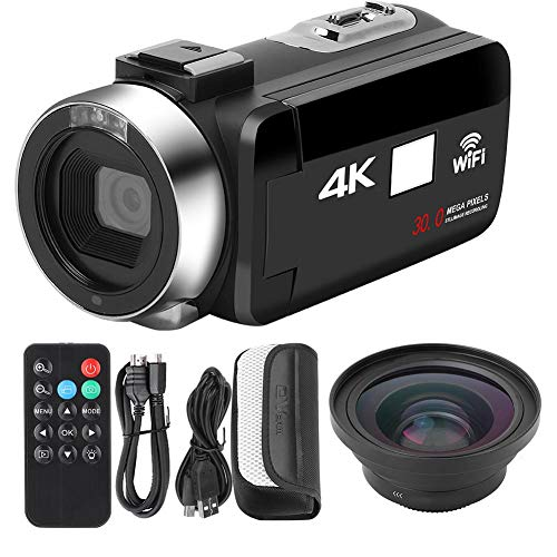 VBESTLIFE 4K HD-Videokamera, Wi-Fi Night Vision 16x Digitale Zoom-Camcorder-Kamera.HD Digitalkamera 4K Wi-Fi.(Standard + 0,39-faches Weitwinkelobjektiv)