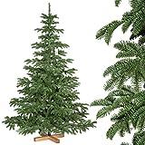 FairyTrees Weihnachtsbaum künstlich ALPENTANNE Premium, Material Mix aus Spritzguss & PVC, inkl. Holzständer, 180cm, FT17-180