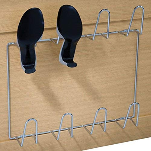 Gedotec Wand-Schuhablage Schuhhalter zum Schrauben an die Wand   Schuhregal für 4 Paar Schuhe   Stahl verchromt glänzend   Breite: 500 mm   1 Stück