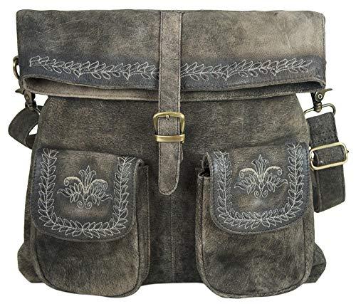 Domelo Tracht Damen große Trachtentasche Dirndltasche Umhängetasche Schultertasche Frauentasche Handtasche Oktoberfest Tasche groß Ledertasche Damentasche Retro Design Braun Leder stickerei