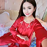 OME&QIUMEI Nightwear Spring And Summer Home Dress Nightwear Suit Gules Xl