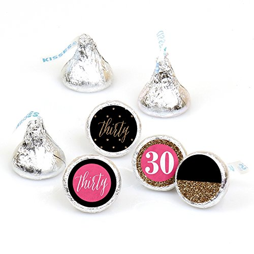 chic-30th-birthday-pink-black-and-gold-round-candy-sticker-favours-labels-fit-hersheys-kisses-1-shee