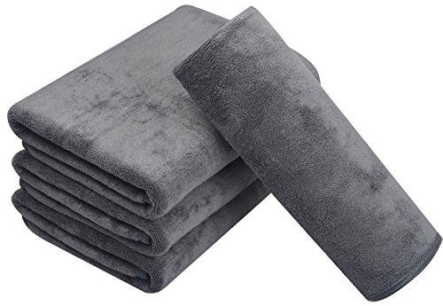 Kinhwa asciugamani microfibra durevole asciugamani da bagno set di 2 40cm x 76cm grigio/bianca (grigio, 4 pack)