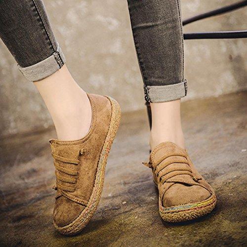 Jamicy Donna moda suede lace-up casual scarpe piatte Cachi