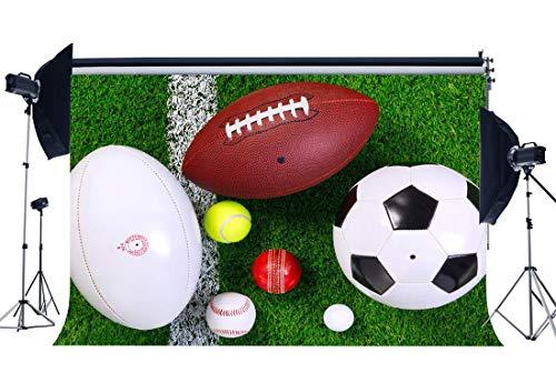 JoneAJ Sport-Thema-Hintergrund 7X5FT Vinyl Fußball-Fußball-Baseball auf grünem Gras-Wiese-Hintergrund-Innenstadion-Fotografie-Hintergrund Jungen-Alles Gute zum Geburtstagparty YX806