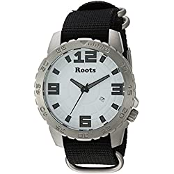 Roots Men's 'Core' Quartz Stainless Steel and Nylon Casual Watch, Color:Black (Model: 1R-LF600WH7B)