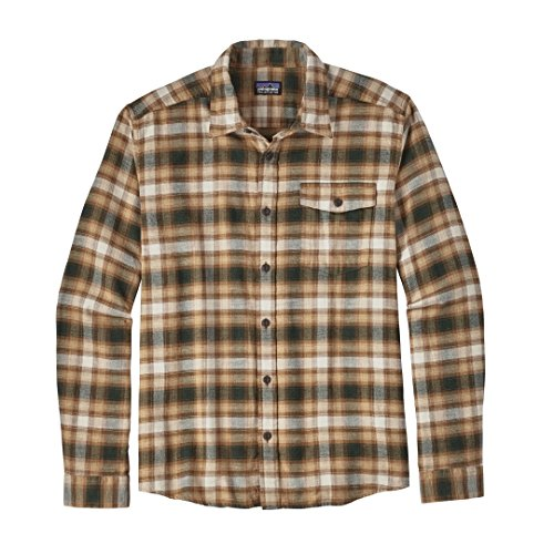 Patagonia M's L/S Lw Fjord Flannel Shirt Watershed: Forge Grey Revival: Bear Brown