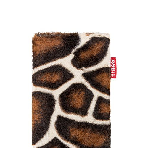 fitBAG Bonga Schneeleopard Handytasche Tasche aus Fellimitat mit Microfaserinnenfutter für Apple iPhone 6 Plus / iPhone 6S Plus 5,5 Zoll mit Apple Leather Case Bonga Giraffe