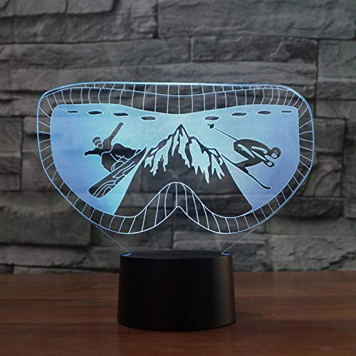 Illusion Lampe Ski Goggles Moulding Night Light 7 Colors Changing Snowboarding Desk Lamp Led Acrylic Light Fixture Gifts Baby Bedroom Decor 3D